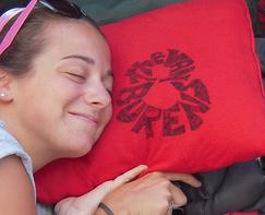 Snuggling with Van Burens tee-shirt pillow