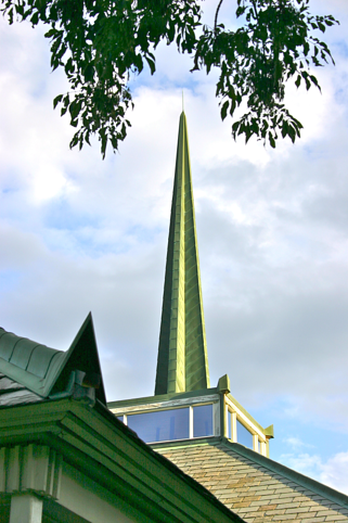 Copper gutters and spire