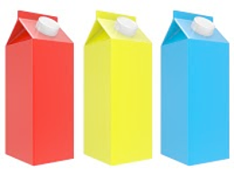 Colorful milk cartons