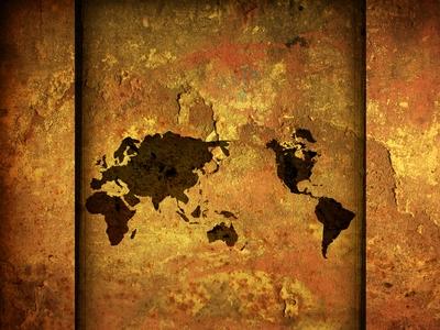 World Map Vintage Art