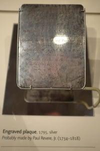 Boston 1795 time capsule silver plaque