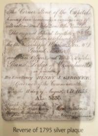 Boston 1795 time capsule silver plaque reverse side