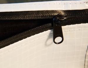 Intercept woven stitched zipper