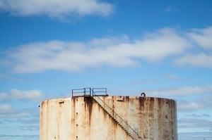 Corroded oil silo